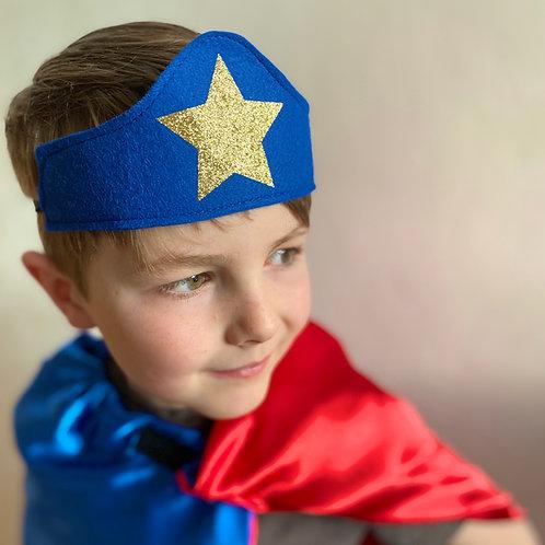 Felt Superhero Crown. Choose Colour and Star / Flash Decoration