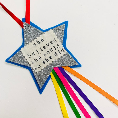 Motivational Star Hanging with Ribbons, Any Wording!