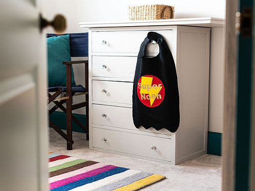 Kids Felt Super and Name Cape. Choose from Flash or Star Decoration