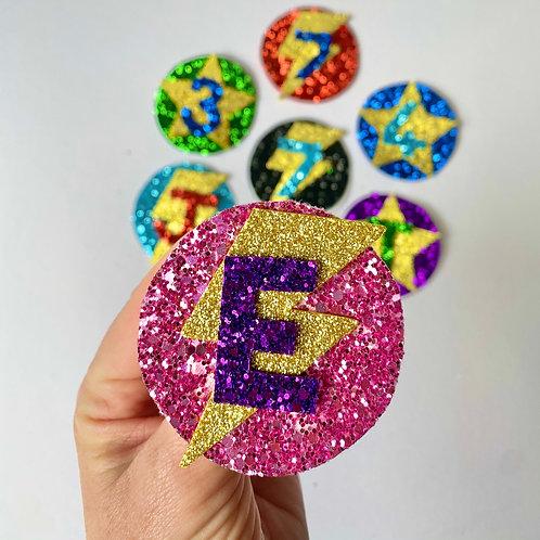 Flash Shaped Glitter Birthday Badge, Superhero Flash Shaped Birthday Pin
