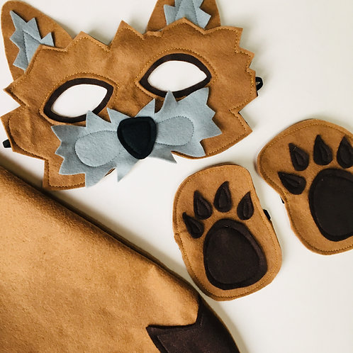 Any Size Coyote Costume, Wild Dog Mask and Tail