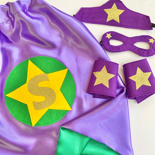 Kids Satin Superhero Costume with Letter. Choose from Flash or Star Decoration