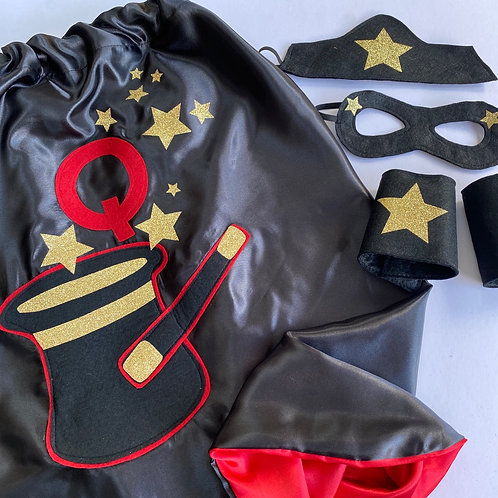 Any Size Satin Magician Costume, Magician Cape with Letter