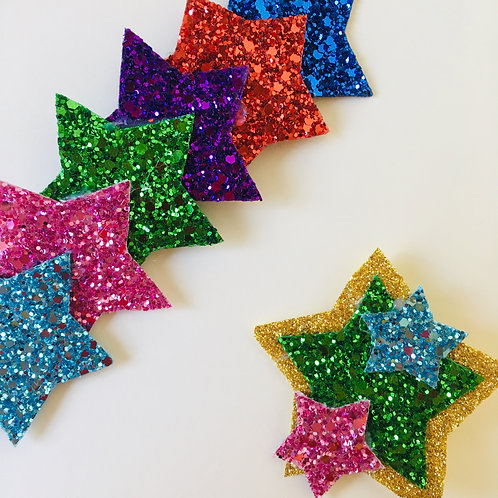 Rainbow Glitter Star Head Band and Badge Gift Set