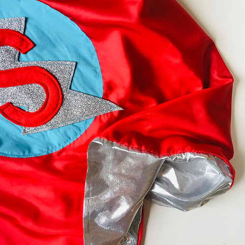 Adult Silver Lined Superhero Flash Cape with Letter