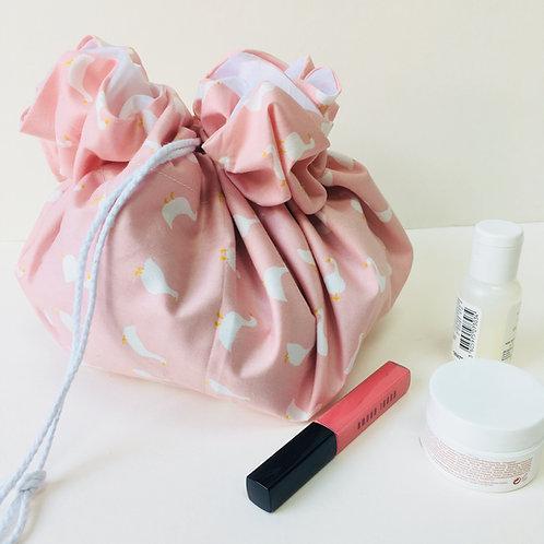 Drawstring Make Up Bag Pouch, Circular Cosmetic Bag