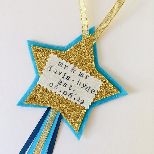 Wedding Couple Star Hanging, Wedding Gift, Relationship Celebration Gift