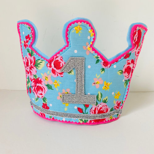 Personalised Floral Crown, Fabric Birthday Crown. Choose any Letter/Age