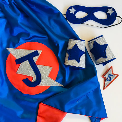 Kids Satin Superhero Flash Cape with Letter