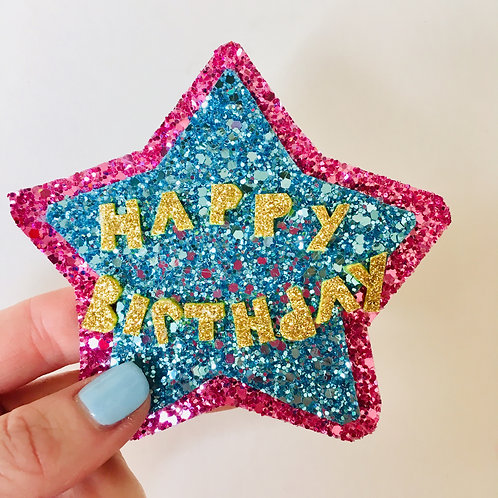 Large Glitter Happy Birthday Badge, Star Shaped Glitter Pin, Choose Wording.