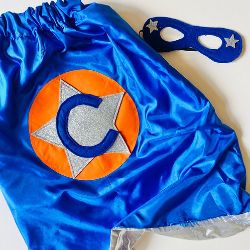 Kids Satin Superhero Cape with Silver Shimmer Lining