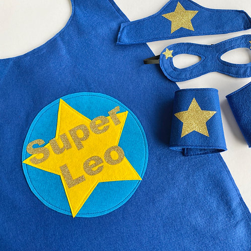 Adult Felt Super and Name Cape. Choose from Flash or Star Decoration