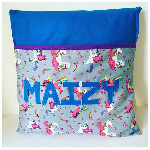 Personalised Pocket Pillow, Storage Cushion with Pocket, Reading Cushion