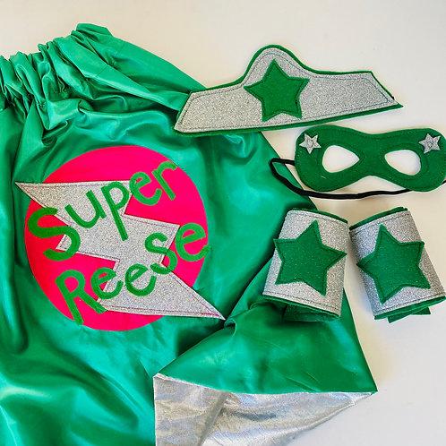 Kids Silver Lined Full Name Satin Superhero Flash Cape
