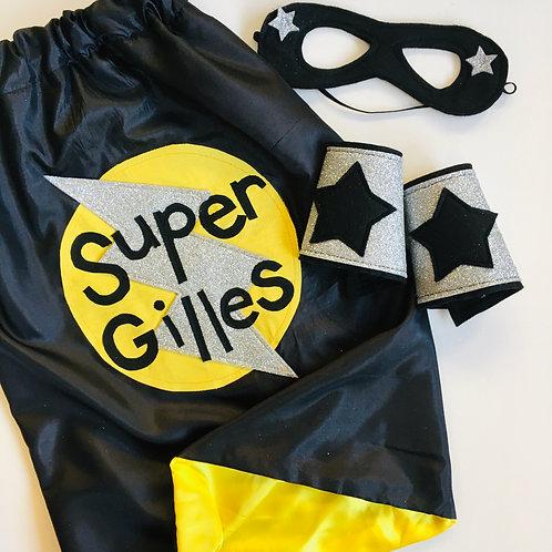 Kids Full Name Satin Superhero Flash Cape