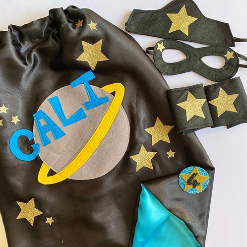 Any Size Satin Superhero Space Cape with Name