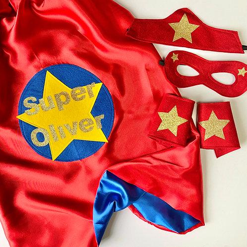Kids Satin Super and Name Cape. Choose Flash or Star Decoration