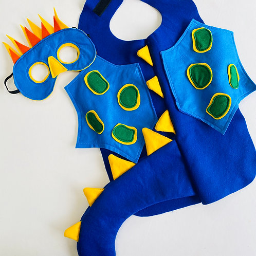Scaly Winged Dragon Costume with Tail, Blue Dragon Outfit.