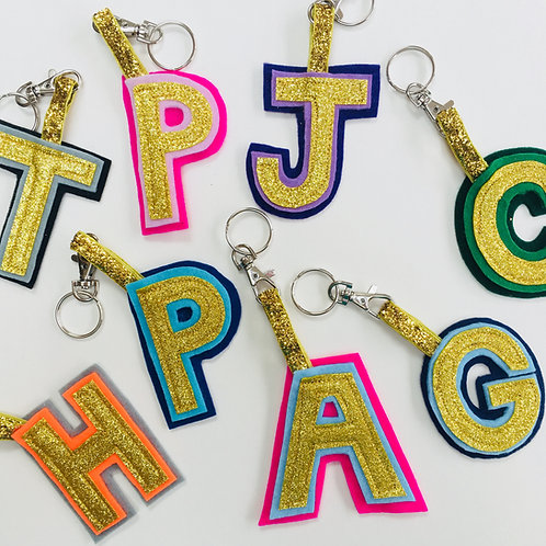 Single Letter Felt Key Ring, Initial Bag Tag