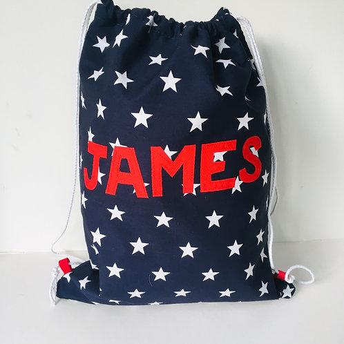 Waterproof Lined Backpack Rucksack. Drawstring Bag for School/Nursery with Name
