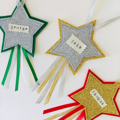 Personalised Star Hanging, Christmas Tree Hanging, Baby's First Christmas Gift.