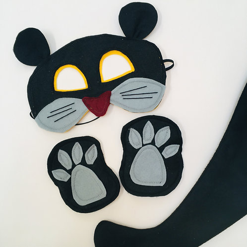 Any Size Black Panther Costume, Puma / Jaguar Mask, Tail and Claws