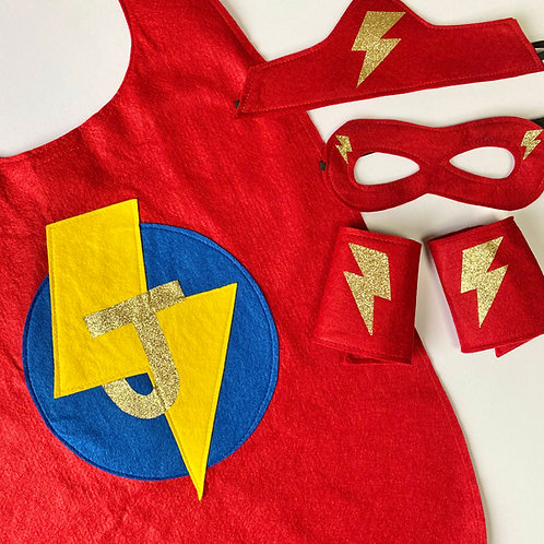 Adult Felt Superhero Cape with Letter. Choose Flash or Star Decoration