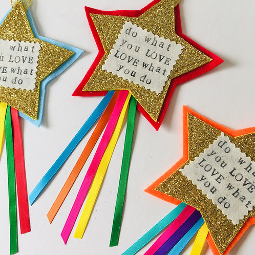 Do What you Love, Love What you Do, Small Business Gift, Star Hanging.