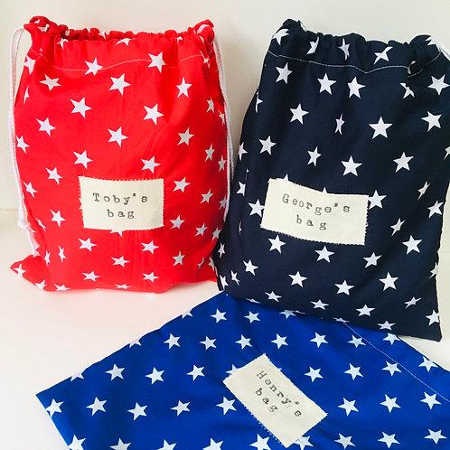 Waterproof Lined Swim / PE / Peg Bag, Wash Bag, Personalised Drawstring Bag