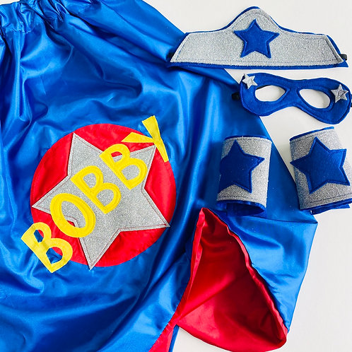 Kids Satin Superhero Star Cape with Full Name