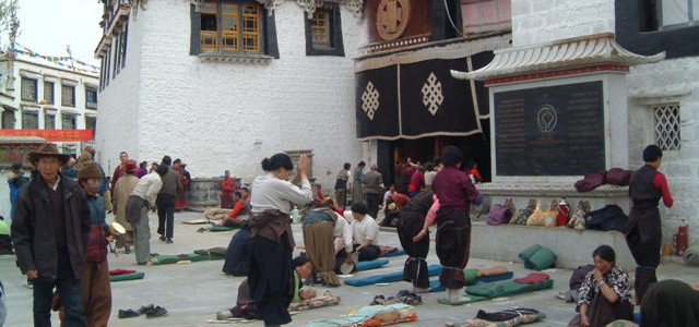 Prostrators in Jokhang temple