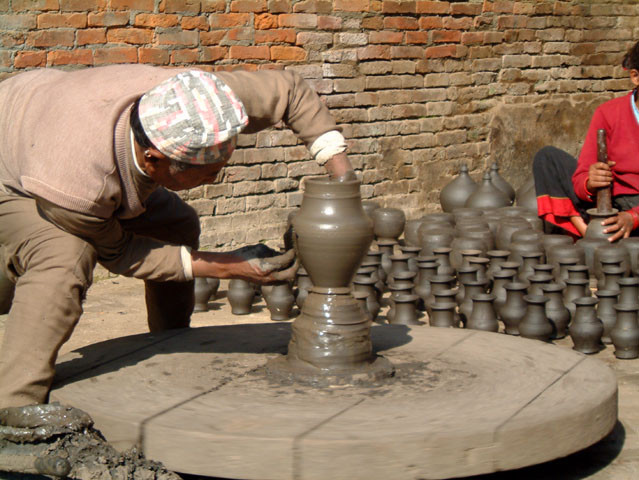 potter in action in Bhaktapur