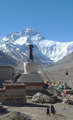 Rongbuk stupa with Chomulangma at rear.J