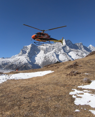 Helicopter to Mount Everest.