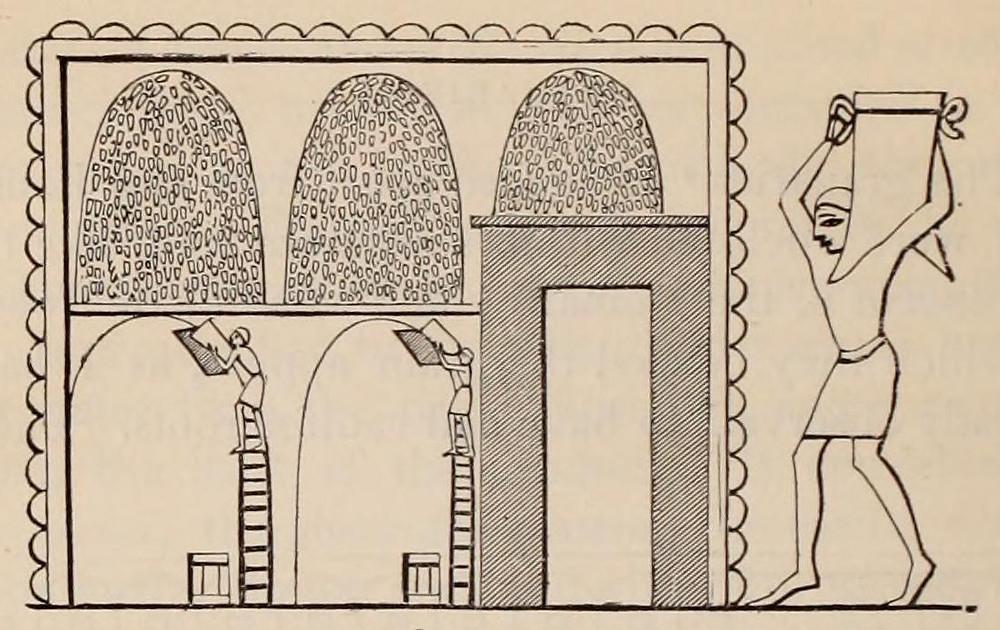 Representación de los antiguos graneros egipcios de Tebas