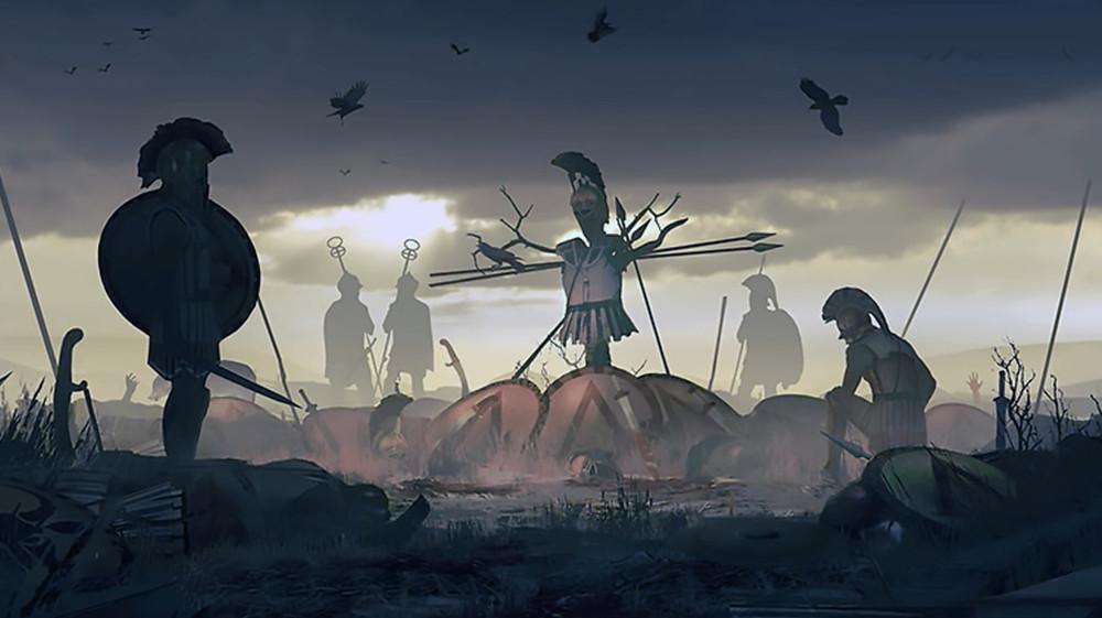 Representación gráfica de restos de pertrechos de hoplitas espartanos acumulados de forma que representen una fosa común