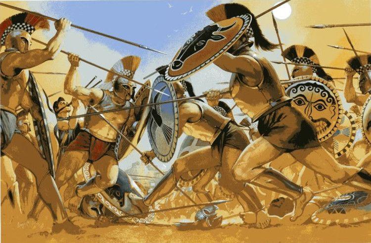Hoplitas espartanos en lucha