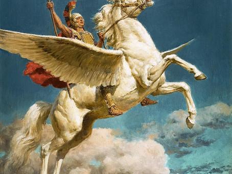 Belerofonte, el que venció a la Quimera, domó a Pegaso y montándolo intentó subir al Olimpo
