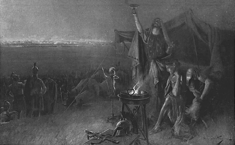 Alejandro consultando al adivino Aristandro en la víspera de la batalla de Gaugamela, de André Castaigne (1898-1899)