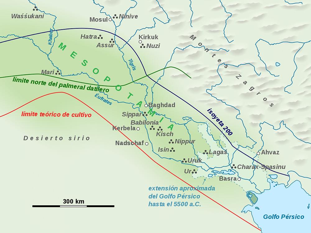 Mapa de las regiones agrícolas de la antigua Mesopotamia