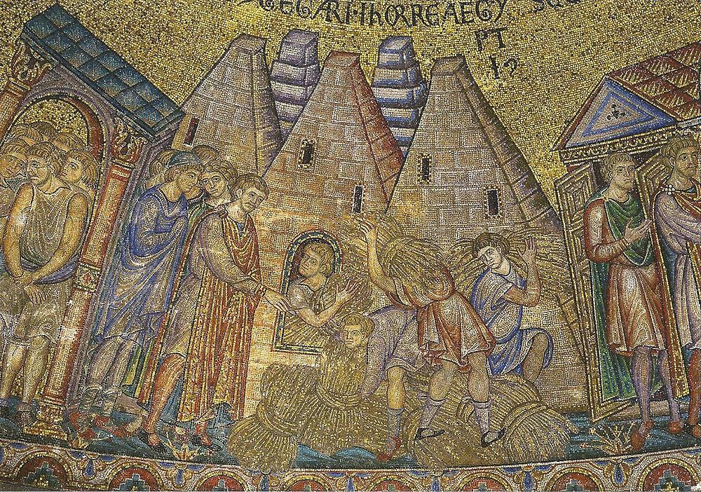 José almacenando el grano en las pirámides. Basílica de San Marcos en Venecia (1275)