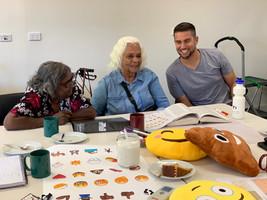 Emoji bosses Joel Liddle Perrule, Veronica Dobson Perrurle and Kathleen Wallace Kemarre