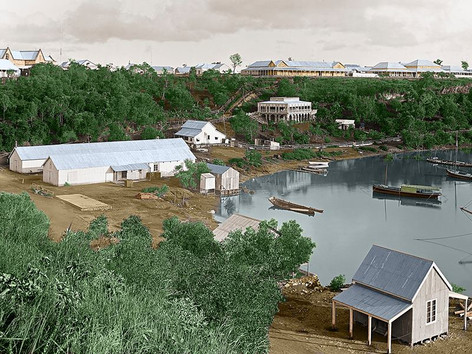 It's the old Darwin, but not as you've seen it before... Tuesday marked 150 years since surveyor George Goyder arrived here, on Larrakia land and sea, to sketch up plans for a new northern capital, establishing the first permanent European settlement in the NT. Darwin Resident Terry O'Brien has been taking old photos of the early settlement, such as this famous shot by Paul Foelsche from Fort Hill in 1887, and bringing them back to life by colourising them.   10 February 2019  Image: P. Foelsche, National Library of Australia. Colourised by Terry O'Brien.