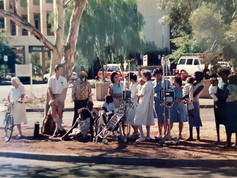 Even if you're sick, there's no excuse to miss the parade. Patients and staff of the Alice Springs Public Hospital gather to see the Bangtail Muster in the early 1980s. The first Bangtail Muster Parade was held 60 years ago to mark the start of the cattle mustering season. First run by the Chamber of Commerce, then by the Rotary Club of Alice Springs from the sixties onwards, the parade is still a chance for the community to get together and dress up on the May Day public holiday. It's on again tomorrow at 10am.  5 May 2019  Image: Neroli Stayt, Growing up in Alice Springs Facebook group