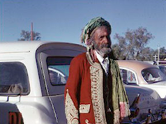 It's show time again in the Territory, and it's a weekend that's always attracted all types. Here is a grand old man of Central Australia, Saidah Saidel, the last of the Afghan cameleers, at the Alice Springs show in 1966. He arrived in Australia from Afghanistan around 1901 aged 22, using camels to cart wool and other goods around Broken Hill, Wilcannia and later Central Australia where he saw out his later years. He was known for his kindness, cheeky sense of humour, delicious dampers, regular attendance at Sunday football and luscious veggie garden, which he was forever chasing the local kids out of. And he clearly didn't mind the show either! He died at the Old Timers nursing home just a year after this photo was taken.  7 July 2019  Image: William Prince Collection, Department of the Environment