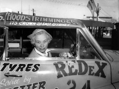 """Our love affair with dust and speed continues this weekend with the Finke Desert Race. But in the 1950s, long before Finke, a legendary set of car races known as the Redex Trials took place, attracting an extraordinary line up of competitors such as """"Galloping Grandma"""", Mrs Winifred Conway aged 63 (pictured). Despite facing a lack of support early on due to her gender and age, she went on to compete in two races around Australia, proving her argument that """"an experienced woman driver is just as good as a man'. She wanted to see the country, take photos and enjoy herself, which she did, at a steady pace of no more than 95 kilometres per hour. She quickly grew a loyal fan base, always driving in a hat and white gloves and even turned up at the finish line with a fresh blue rinse. She told the press it was """"the best rest I've ever had - no one to look after"""".  Picture: Ford Discovery Centre, Geelong, Victoria"""