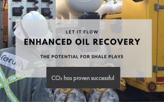 picture of Ferus field operator with text overlaid reading: Let it flow, Enhanced Oil Recovery, the potential for shale plays - CO2 has proven successful