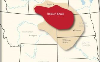 Map showing Bakken Shale area over Saskatchewan, Manitoba, Montana and North Dakota