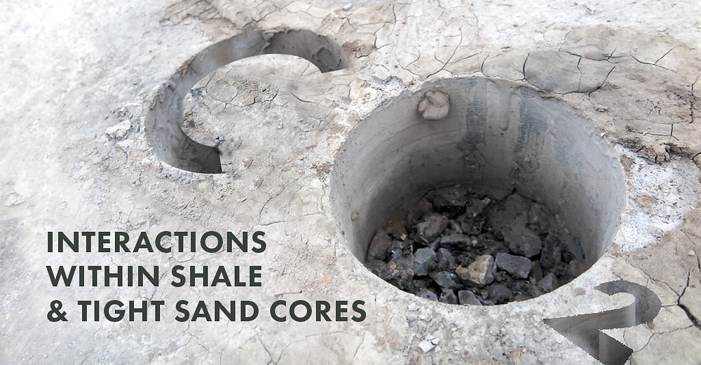 Image of shale core with text overlaid that reads Carbon Dioxide interactions within shale and tight sand cores