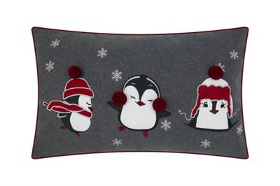 Penguins Embroidered Cushion
